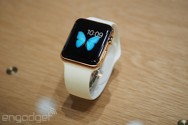 Apple Watch Edition with a white sport band