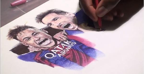 バルサ攻撃陣のメッシ・スアレス・ネイマールをボールペンのみで描いたアートがスゴすぎる