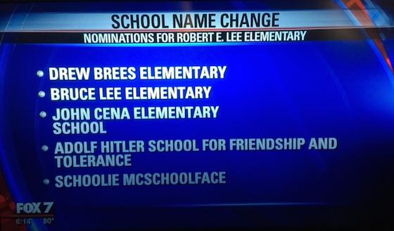 Robert E Lee elementary school name change