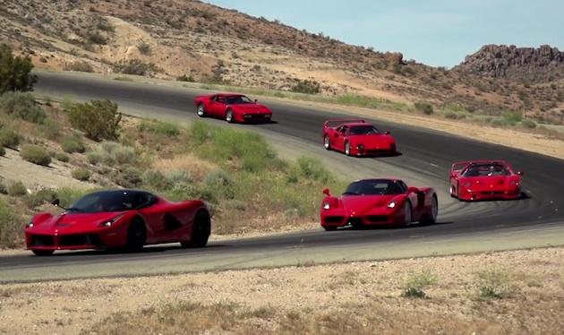 【ビデオ】「ラ フェラーリ」から「288GTO」まで、貴重なフェラーリの限定モデル5台が連なってサーキット走行!