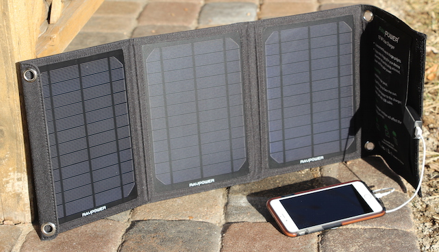 RAVPower Solar Charger with iPhone 6 Plus