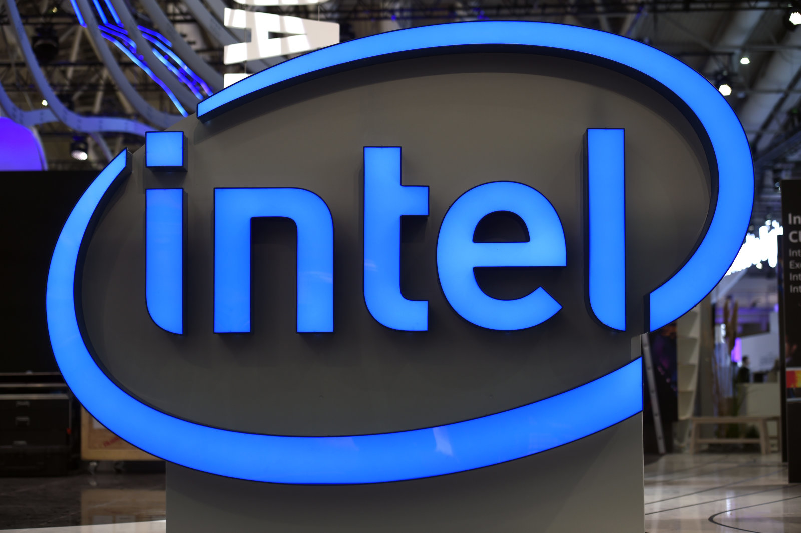 Intel's logo is pictured during preparations at the CeBit computer fair, which will open its doors to the public on March 20, at the fairground in Hanover, Germany, March 19, 2017.  REUTERS/Fabian Bimmer