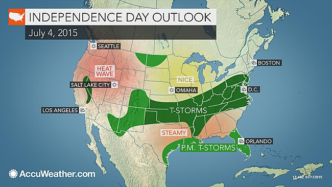 National July Fourth forecast: Storms to light up the sky from Oklahoma City to DC