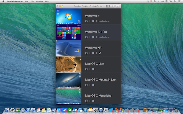 Parallels Desktop 10 Control Center