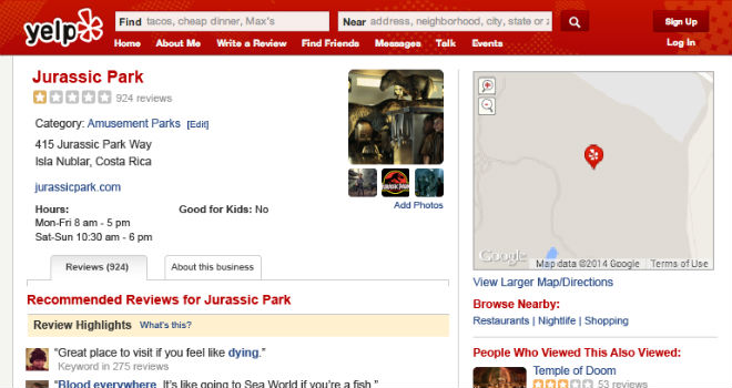 jurassic park yelp page