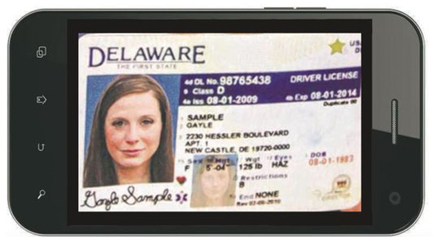 Delaware driver's license on a phone