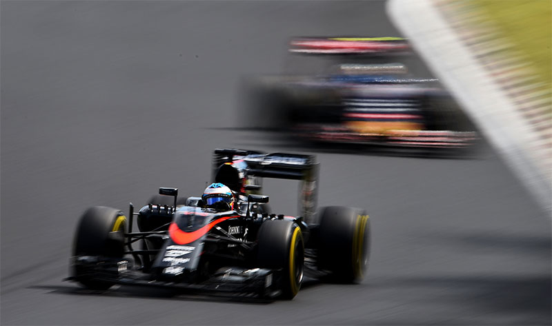 Fernando Alonso drives during the 2015 Hungarian Grand Prix.