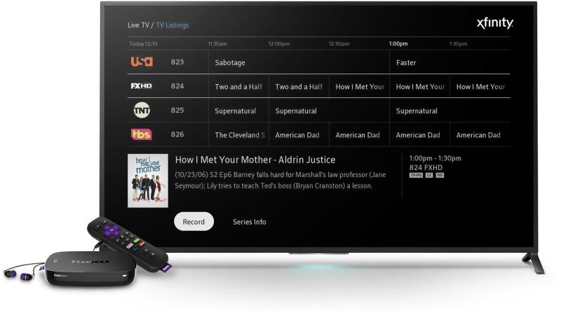 Comcast X1 guide on Roku