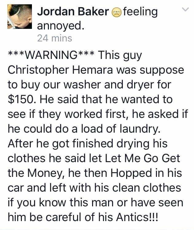 genius free laundry trick, man washes clothes and leaves