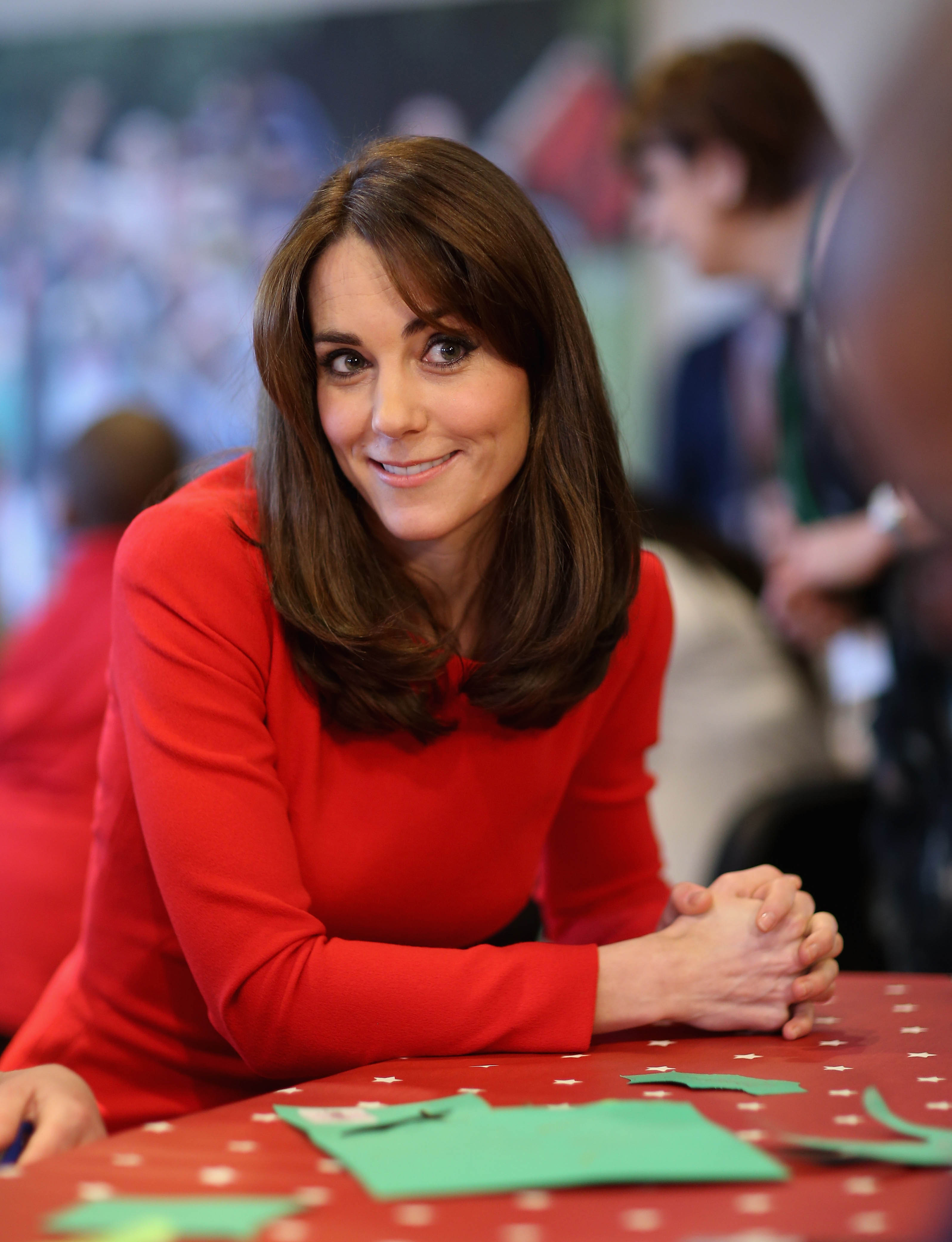Photo by: KGC-375/STAR MAX/IPx201512/15/15Catherine The Duchess of Cambridge visits the Anna Freud Centre in Islington and attends their annual Christmas party.  The Duchess joined groups of families in festive activities designed to help pupils reflect on the positive progress in their social relationships and communication skills.(London, England, UK)