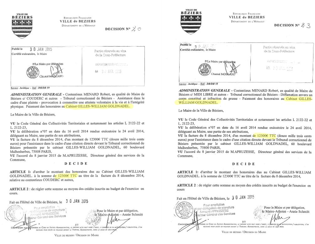 Robert Ménard fait grimper les frais de justice de Béziers — FN