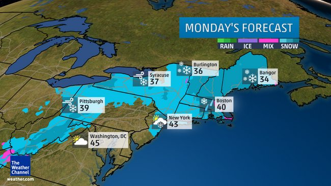 Monday's outlook: Areas in pink denote either rain or snow may fall. Areas in blue denote where snow may fall.