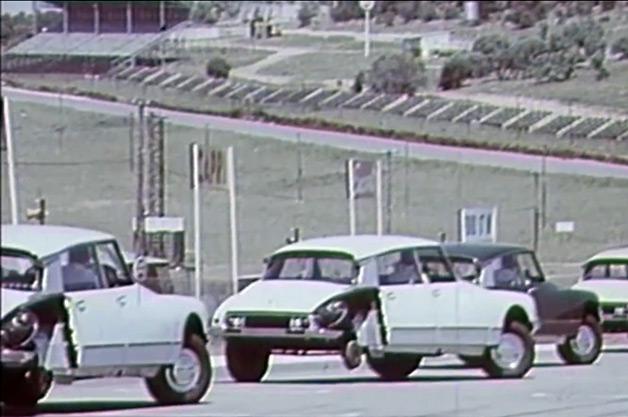 Citroen cars on three wheels