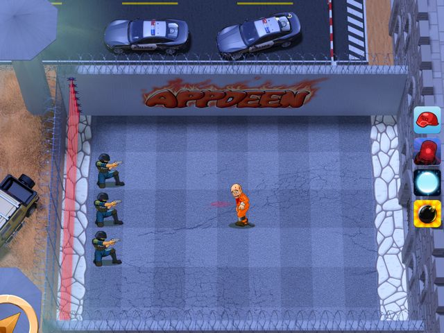 Three police characters defend against a prisoner trying to escape in Prison Defense