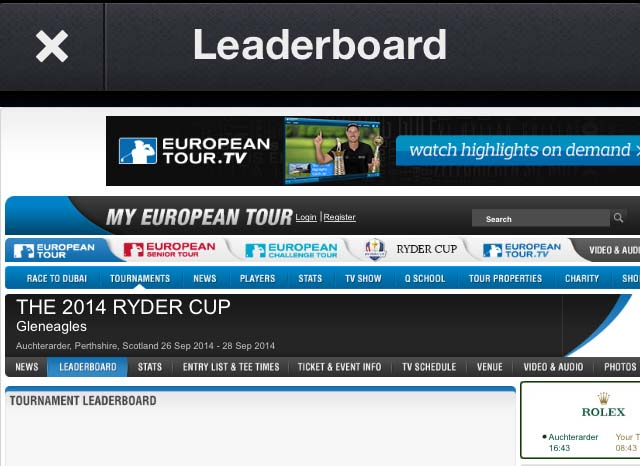 Sportfusion-Unofficial 2014 Ryder Cup News Edition screenshots