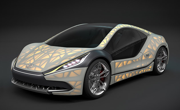 'Light Cocoon' is a fabric-wrapped concept car with a 3D-printed skeleton