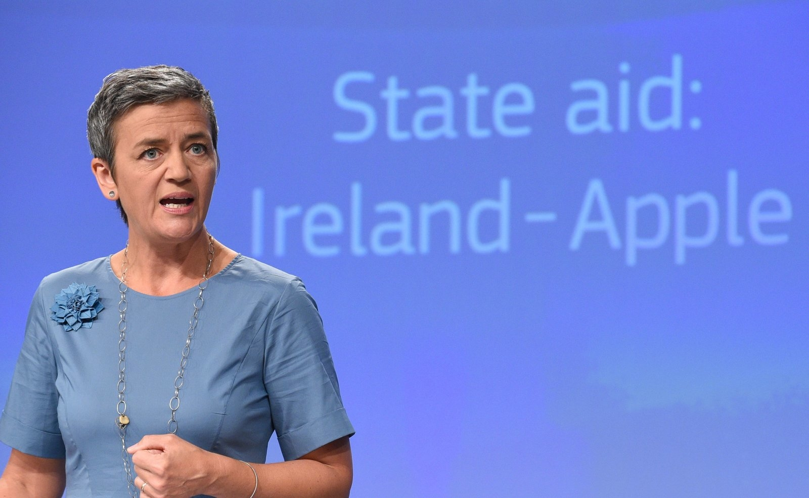 EU Competition Commissioner Margrethe Vestager talks as she gives a press conference to order Apple to pay 13 billion euros in back taxes, in Brussels on August 30, 2016.  The European Union on August 30, 2016, ordered Apple to pay a record 13 billion euros in back taxes in Ireland, saying deals allowing the US tech giant to pay almost no tax were illegal. Apple and the Irish government immediately said they would appeal against the European Commission ruling, while the US Treasury said it could undermine its economic partnership with the EU. Ireland has been seeking to attract multinationals by offering extremely favourable tax conditions, known as sweetheart deals, but EU Competition Commissioner Margrethe Vestager said Apple's broke EU laws on state aid.  / AFP / John THYS        (Photo credit should read JOHN THYS/AFP/Getty Images)