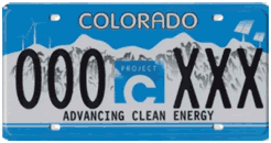 State of colorado clean energy plate
