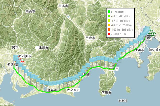 電波調査隊が行く、GW直前の東海道新幹線・東京-名古屋間LTE品質調査