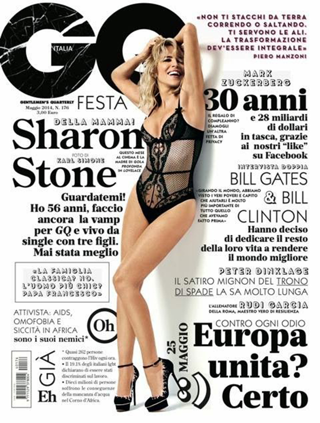 sharon stone cover gq italia in her underwear