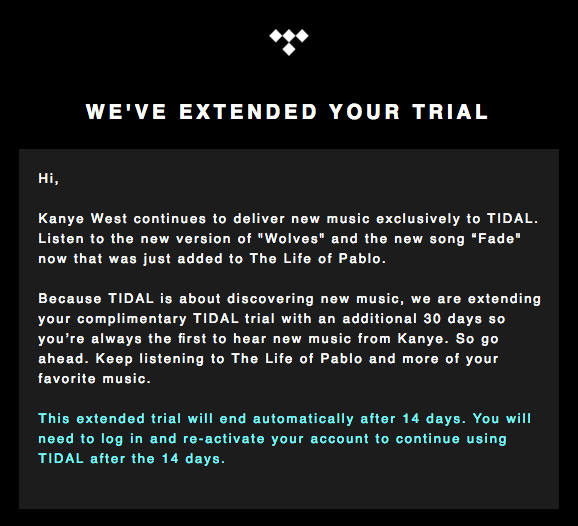 Tidal extends free trial for the updated version of Kanye's album