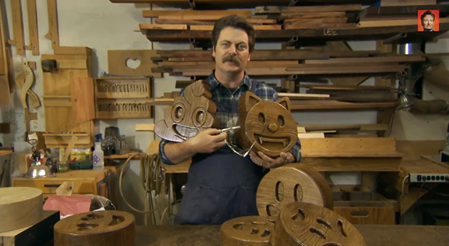 Super-sized wooden emoji are Nick Offerman's latest project