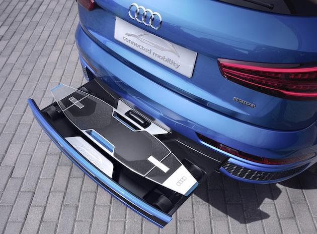 【ビデオ】アウディ、「Q3」の後部バンパーに電動ロングボードを格納したコンセプトカーを発表