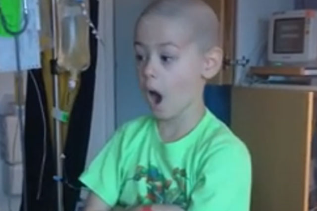 Boy's joy at leaving hospital after cancer treatment