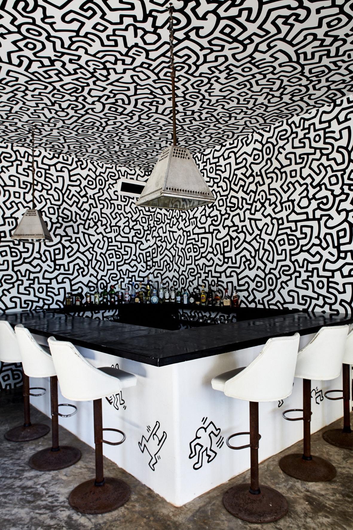 Keith Haring wallpaper in the bar @ Casa Malca