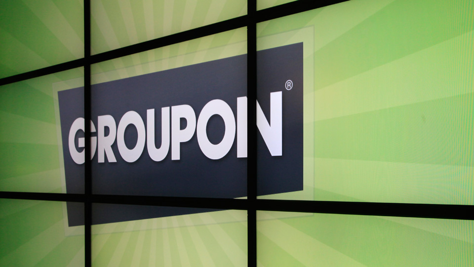 Groupon on a TV wall
