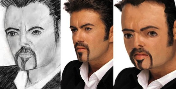 best worst examples of celebrity fan art, bad celebrity drawings, george michael