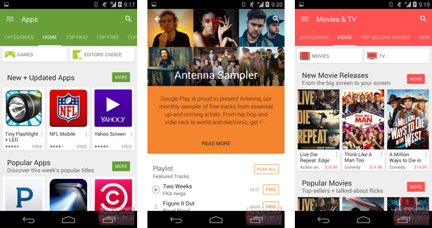 Google Play Store's Material Design makeover