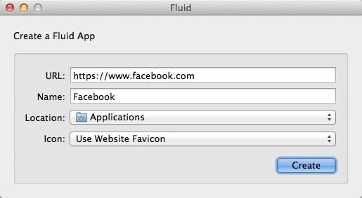 Fluid screenshot for Facebook browser