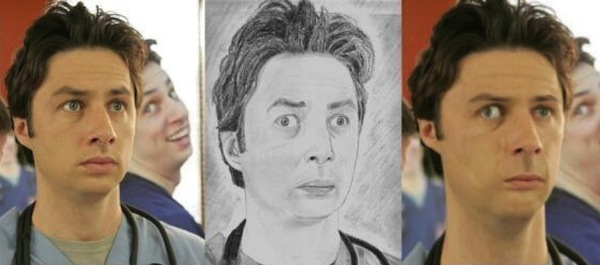 best worst examples of celebrity fan art, bad celebrity drawings, zach braff