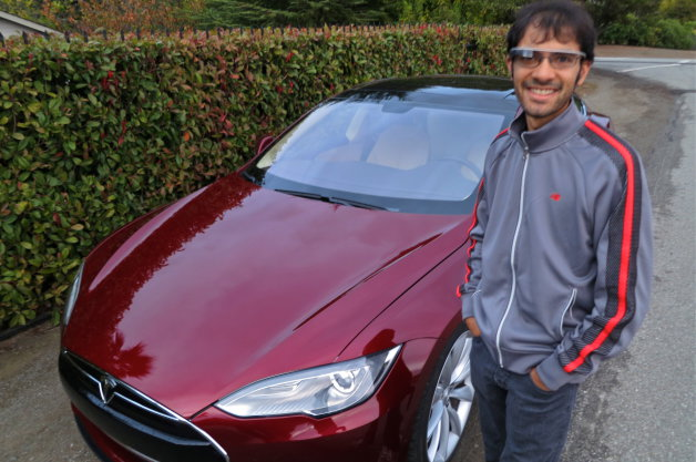 Google Glass Tesla Model S