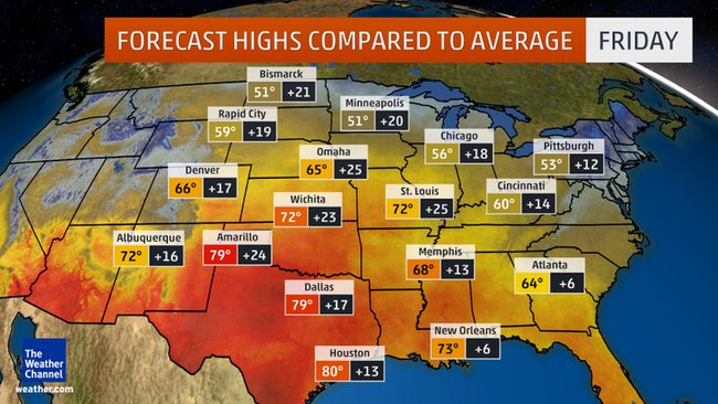 The forecast highs for Friday are shown above along with how far above average the high temperatures will be.