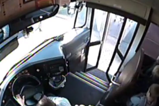 Primary children escape death by inches ad they board school bus (video)