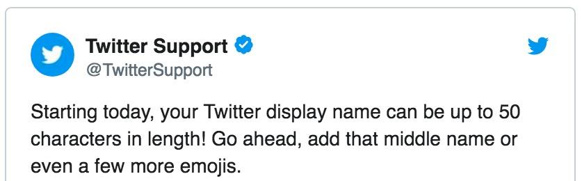 Twitter erlaubt ab sofort Namen mit 50 Zeichen