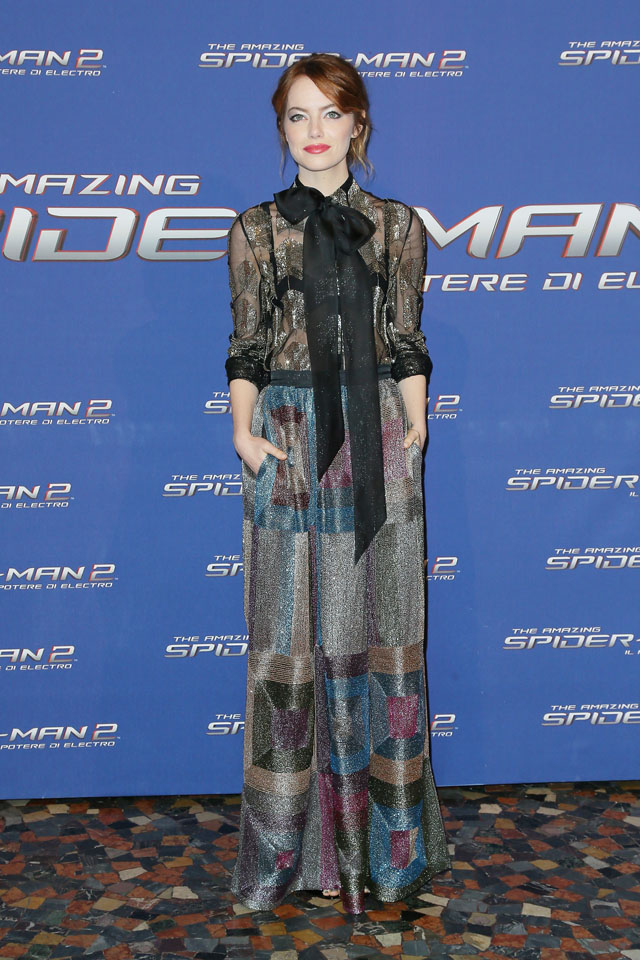 ROME, ITALY - APRIL 14:  Actress Emma Stone attends the 'The Amazing Spider-Man 2: Rise Of Electro' premiere at The Space Moderno on April 14, 2014 in Rome, Italy.  (Photo by Ernesto Ruscio/WireImage)