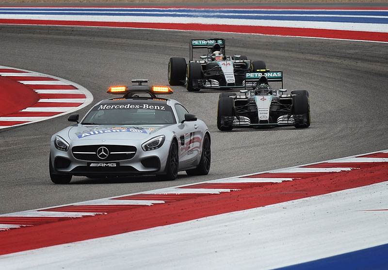 The Safety Car leads the field at the US Grand Prix.