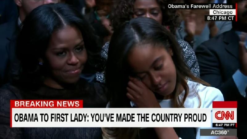 オバマ大統領「最後の演説」、長女の涙に感動の声【動画】