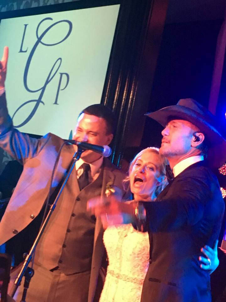 Photo by: Adrienne Marie/STAR MAX/IPx 8/27/16 Tim McGraw performed at a Philadelphia wedding at Vie on August 27th.  The bride is Lisa White and the groom is Paul Getz. The bride's father Dave White arranged for the surprise. Tim McGraw came out and surprised them by singing for the father daughter dance and then performed a handful of others.
