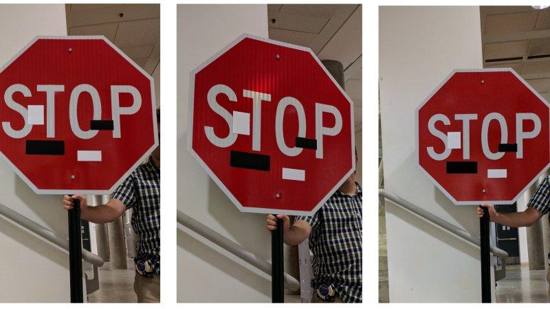 Selbstfahrende Autos sehen in beklebten Stop-Schildern wahnwitzige Anweisungen Gas zu geben