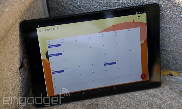Google Calendar on an Android tablet