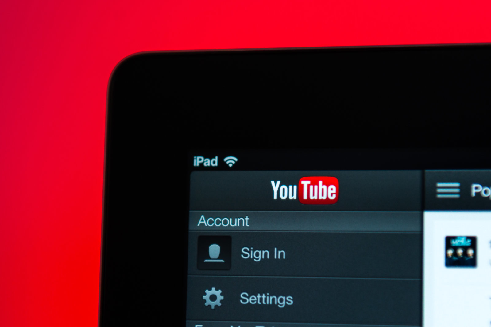 Ankara, Turkey - May 23, 2013:  Close up view of the YouTube home screen.The iPad is produced by Apple Computer, Inc.