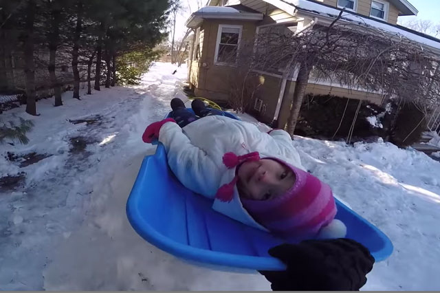 Dad builds Olympic luge-style track in his graden