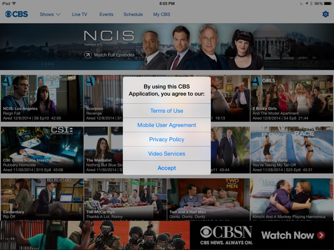 No Comment: CBS iPad app just needs you to sign right here