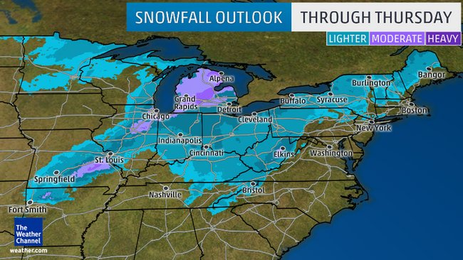 Snowfall Potential Through Thursday  The snowfall forecast accumulation potential through Thursday.  Photo credit: Weather Channel