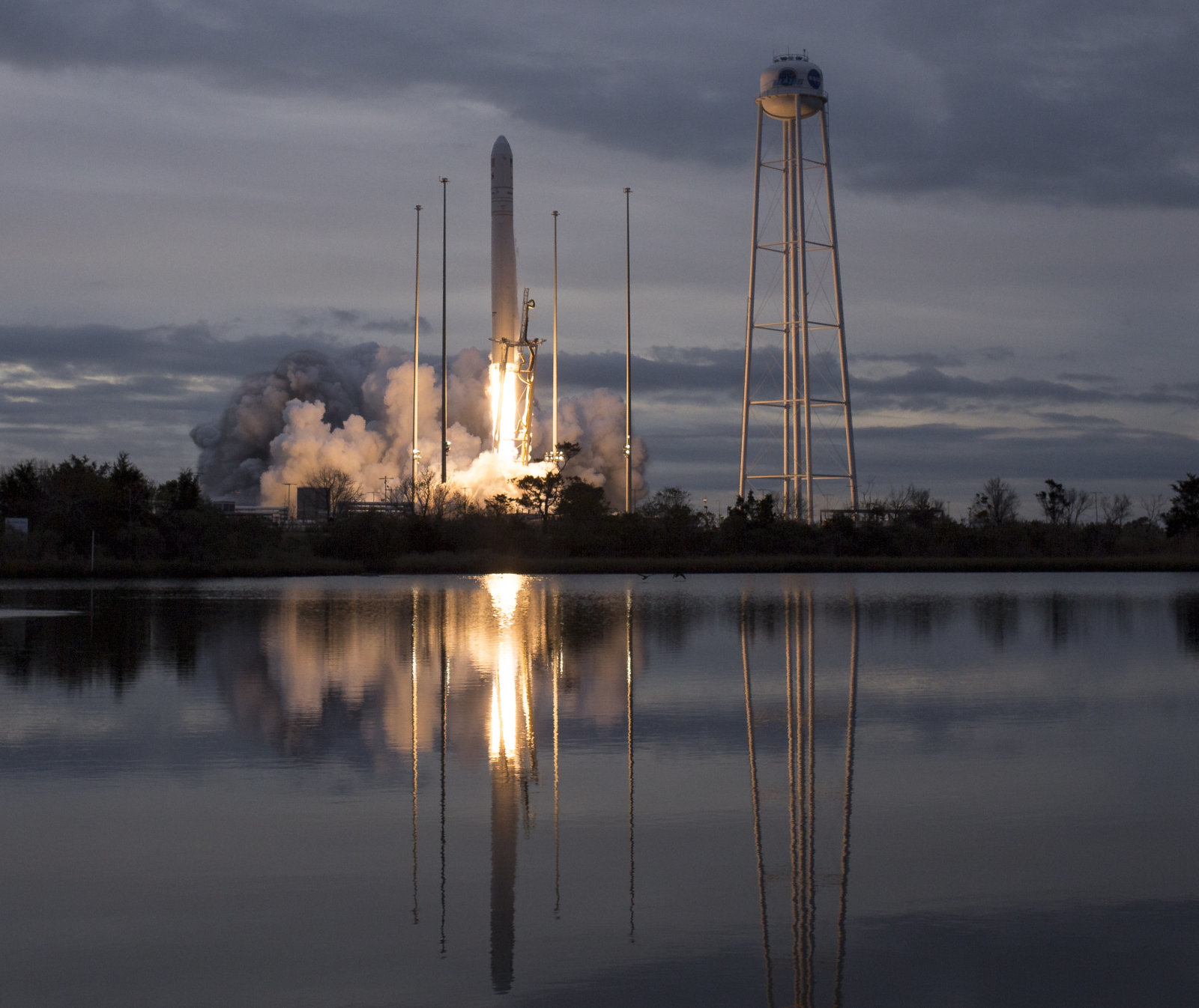 WALLOPS ISLAND, VA - NOVEMBER 12:  In this handout provided by the National Aeronautics and Space Administration (NASA), The Orbital ATK Antares rocket, with the Cygnus spacecraft onboard, launches from Pad-0A on November 12, 2017 at NASA's Wallops Flight Facility in Wallops Island, Virginia. Orbital ATK's eighth contracted cargo resupply mission with NASA to the International Space Station will deliver approximately 7,400 pounds of science and research, crew supplies and vehicle hardware to the orbital laboratory and its crew. (Photo Bill Ingalls/NASA via Getty Images)