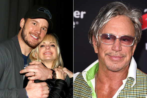 Chris Pratt and Anna Faris's toddler was told to 'shut up' by Mickey Rourke on a long haul flight